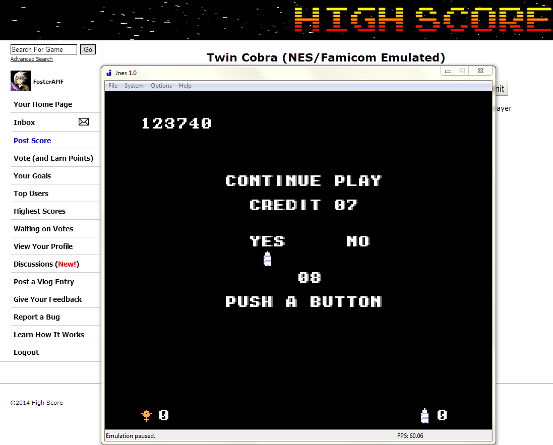 FosterAMF: Twin Cobra (NES/Famicom Emulated) 123,740 points on 2014-06-03 02:33:03