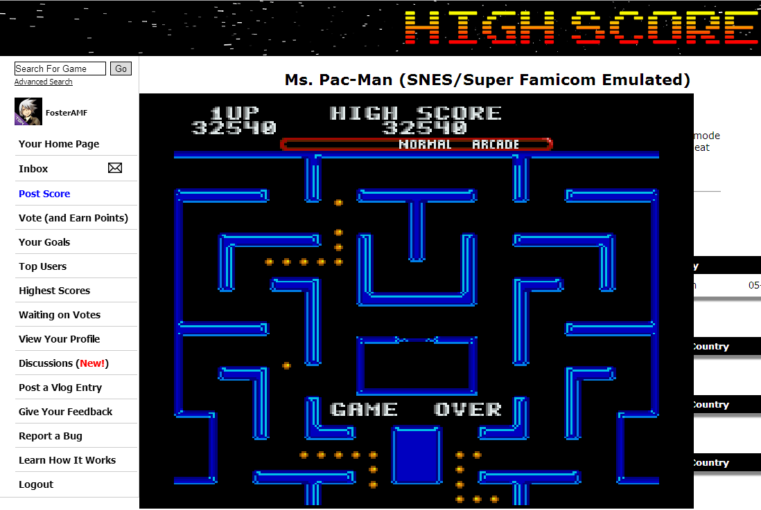 FosterAMF: Ms. Pac-Man (SNES/Super Famicom Emulated) 32,540 points on 2014-06-03 02:54:15