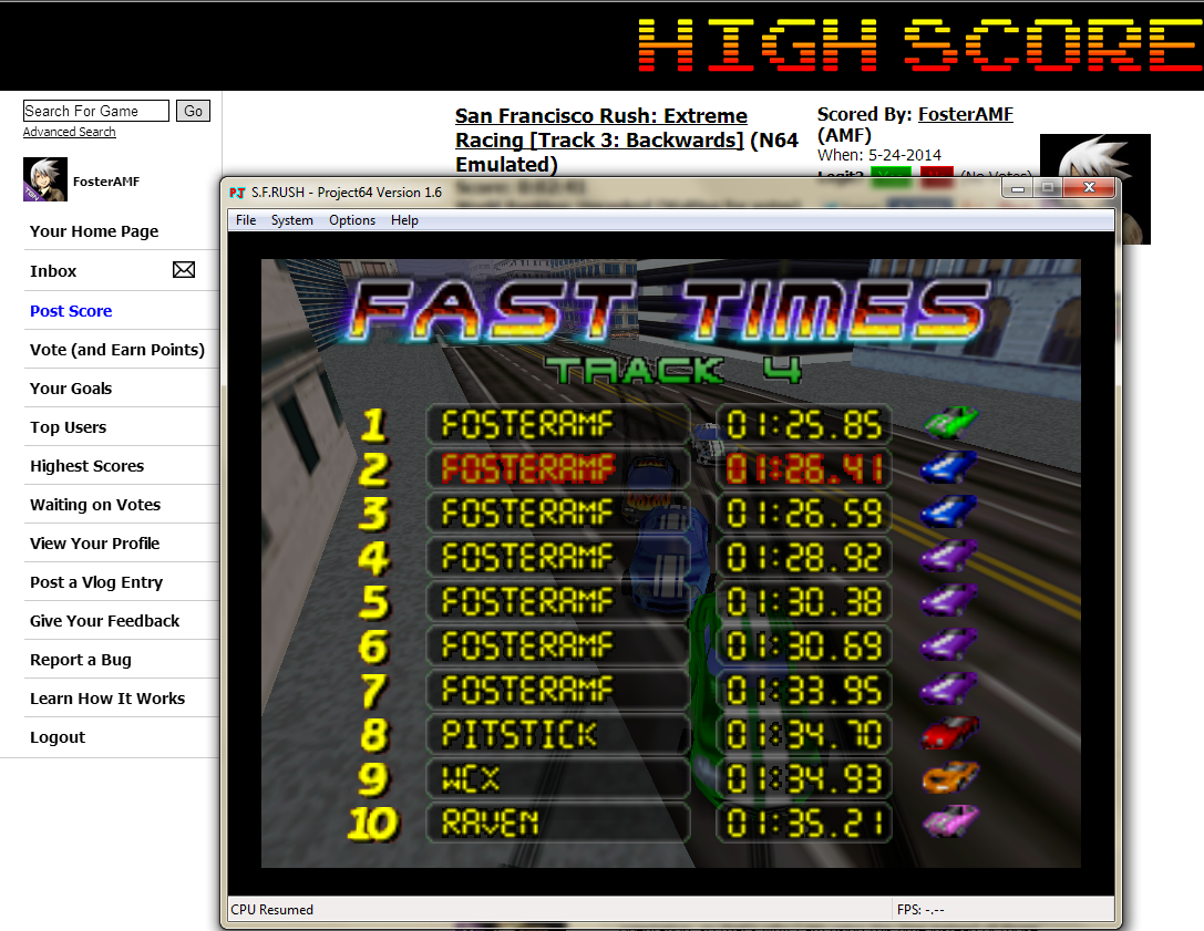 FosterAMF: San Francisco Rush: Extreme Racing [Track 4: Backwards] (N64 Emulated) 0:01:26.41 points on 2014-06-03 03:00:29