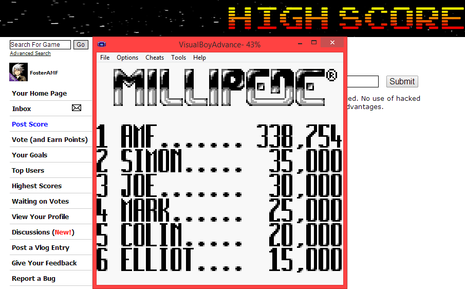 FosterAMF: Millipede (Game Boy Emulated) 338,754 points on 2014-06-03 20:10:45