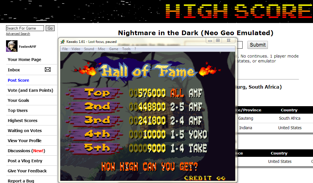 FosterAMF: Nightmare in the Dark (Neo Geo Emulated) 448,800 points on 2014-06-04 02:16:23