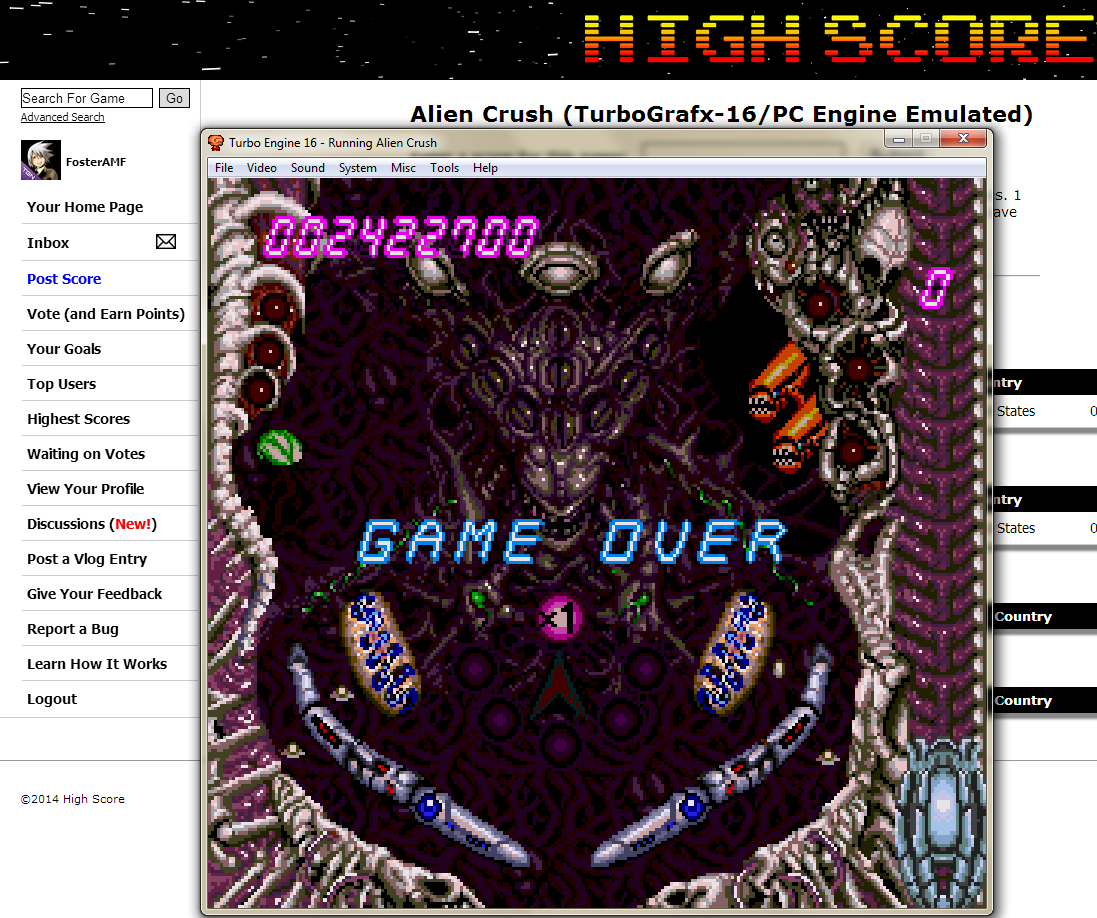FosterAMF: Alien Crush (TurboGrafx-16/PC Engine Emulated) 2,422,700 points on 2014-06-04 03:28:32