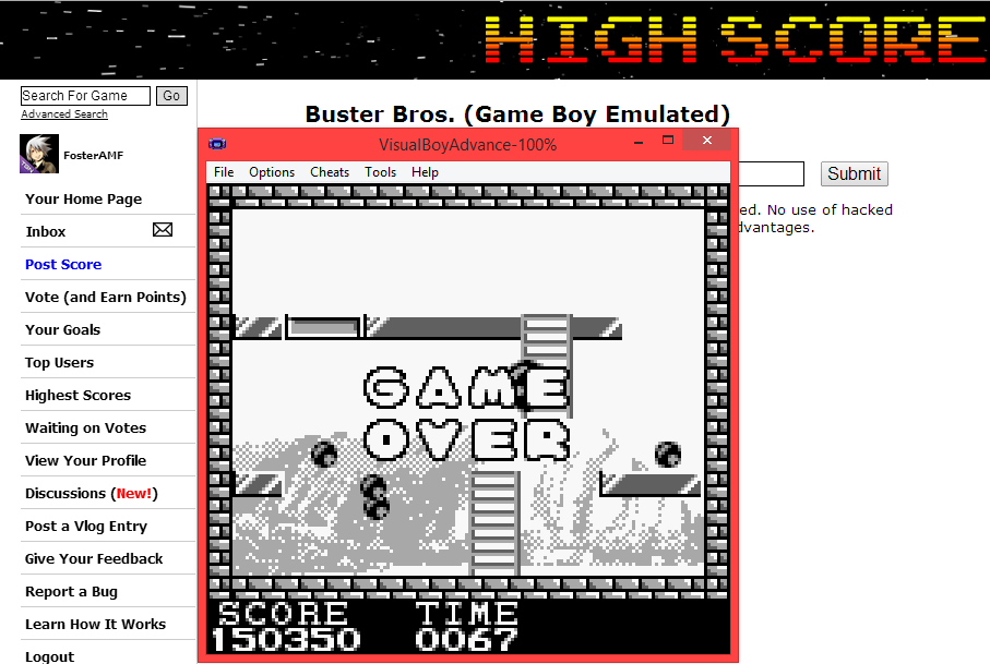 FosterAMF: Buster Bros. (Game Boy Emulated) 150,350 points on 2014-06-04 20:24:58