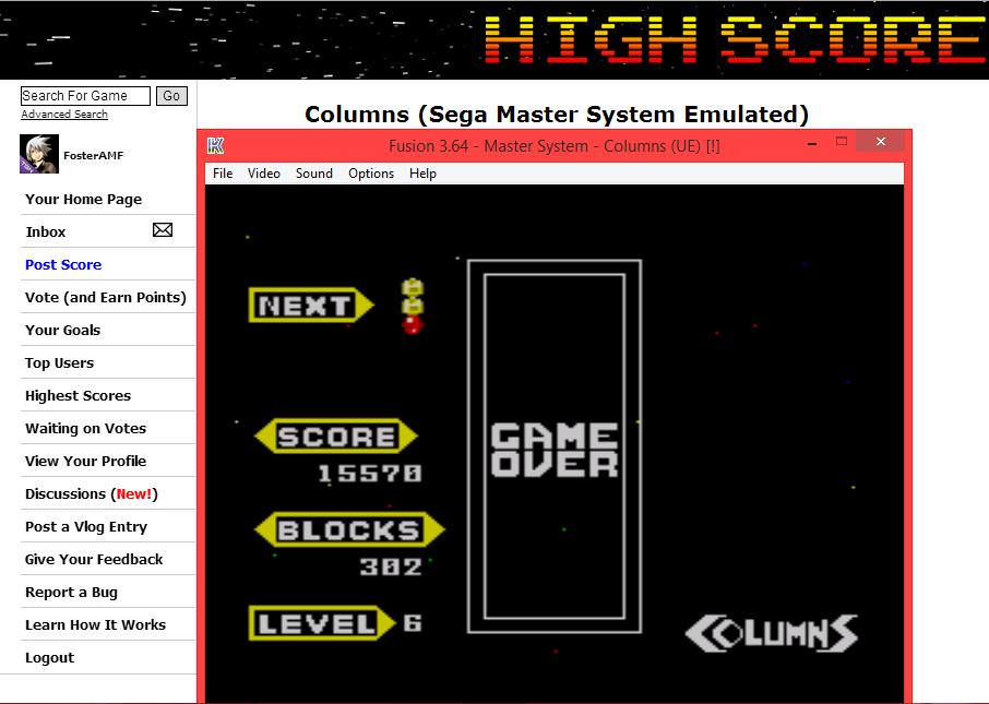 FosterAMF: Columns (Sega Master System Emulated) 15,570 points on 2014-06-06 14:34:58