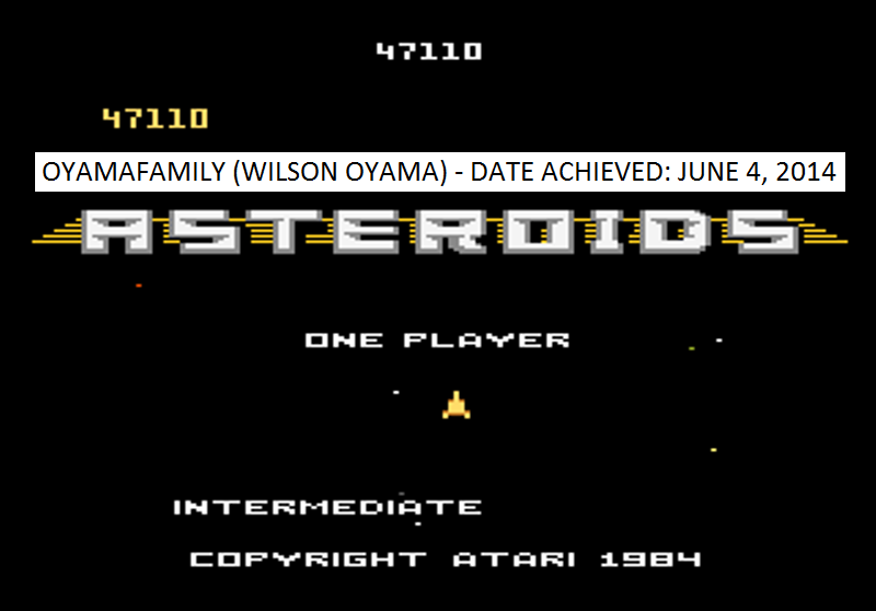 Asteroids: Intermediate 47,110 points