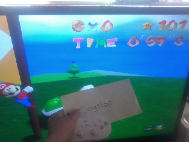 Super Mario 64: Footrace with Koopa The Quick time of 0:00:59.3