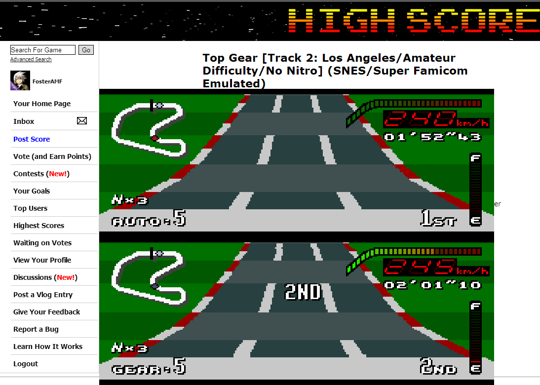 FosterAMF: Top Gear [Track 2: Los Angeles/Amateur Difficulty/No Nitro] (SNES/Super Famicom Emulated) 0:01:52.43 points on 2014-06-11 02:41:41