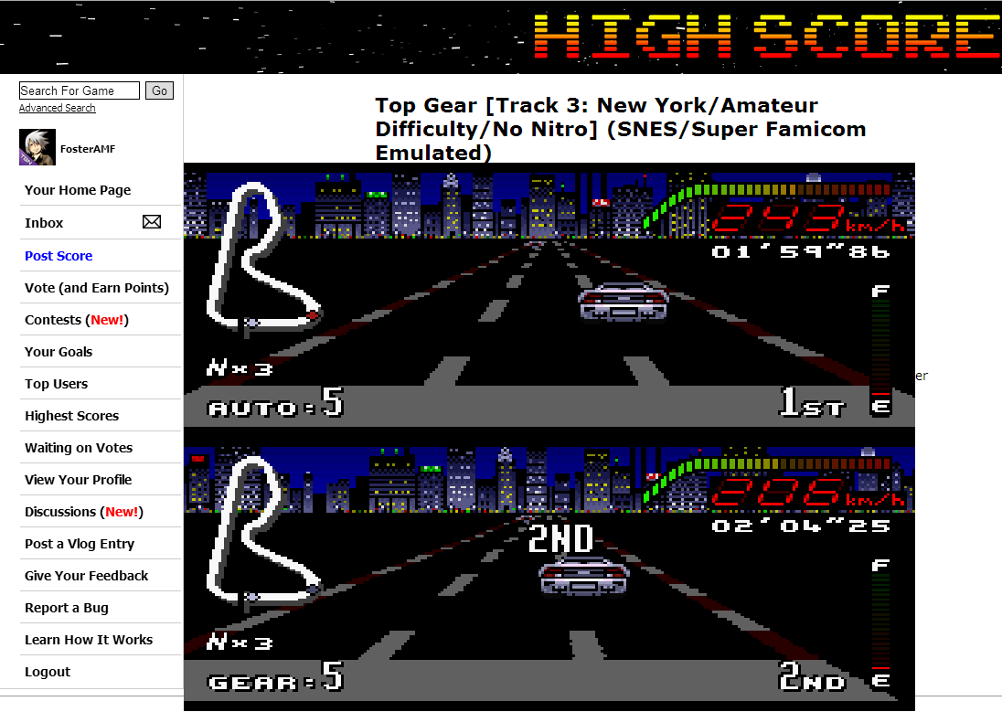 FosterAMF: Top Gear [Track 3: New York/Amateur Difficulty/No Nitro] (SNES/Super Famicom Emulated) 0:01:59.86 points on 2014-06-11 02:48:57