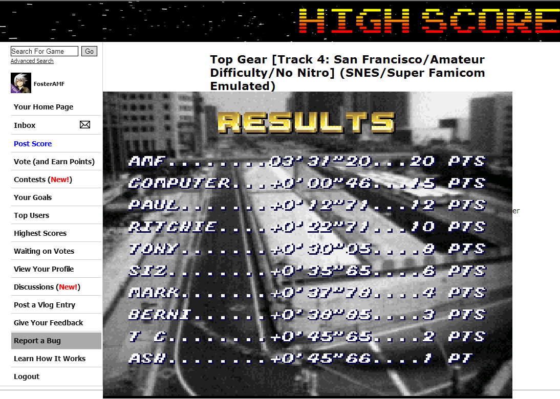 FosterAMF: Top Gear [Track 4: San Francisco/Amateur Difficulty/No Nitro] (SNES/Super Famicom Emulated) 0:03:31.2 points on 2014-06-11 03:06:45