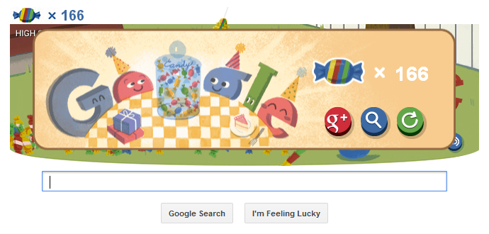 Google 15th Birthday Doodle 166 points