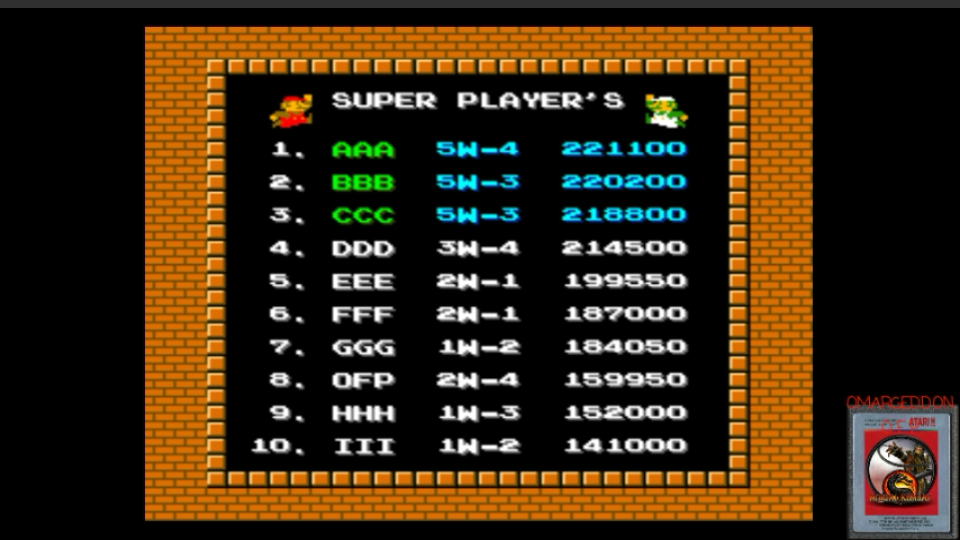 omargeddon: vs. Super Mario Bros (Arcade Emulated / M.A.M.E.) 159,950 points on 2017-03-09 09:25:48